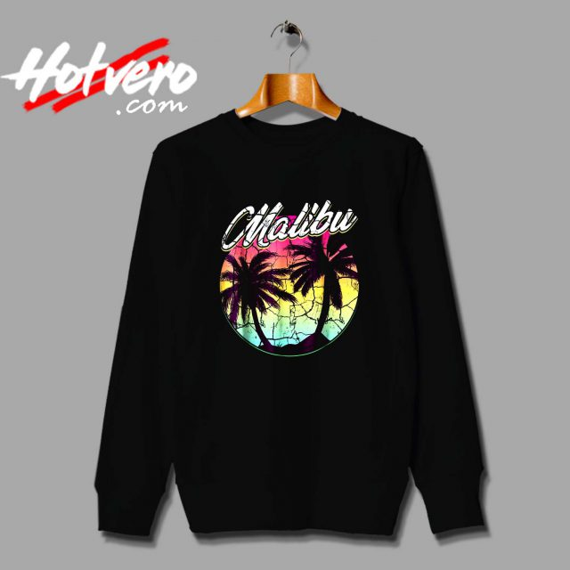 Malibu Beach Vintage Palm Surfing Sweatshirt