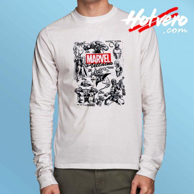 Marvel Vilains All Character Long Sleeve Shirt
