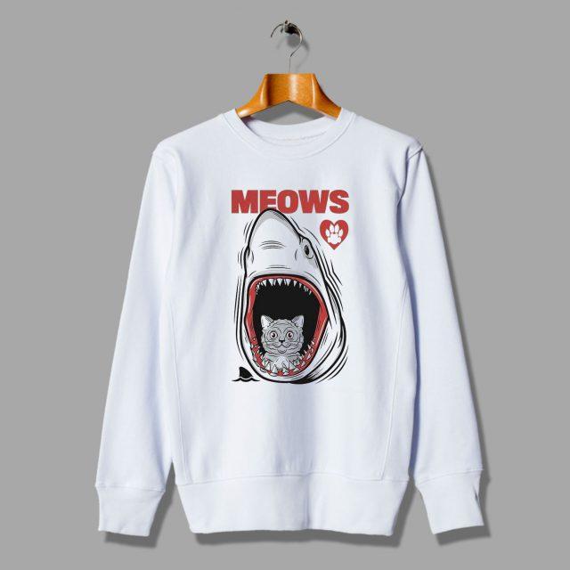 Meows Cat Jaws Parody Unisex Swearshirts
