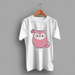 Pink Kawai As Fox With Super Cute T Shirt