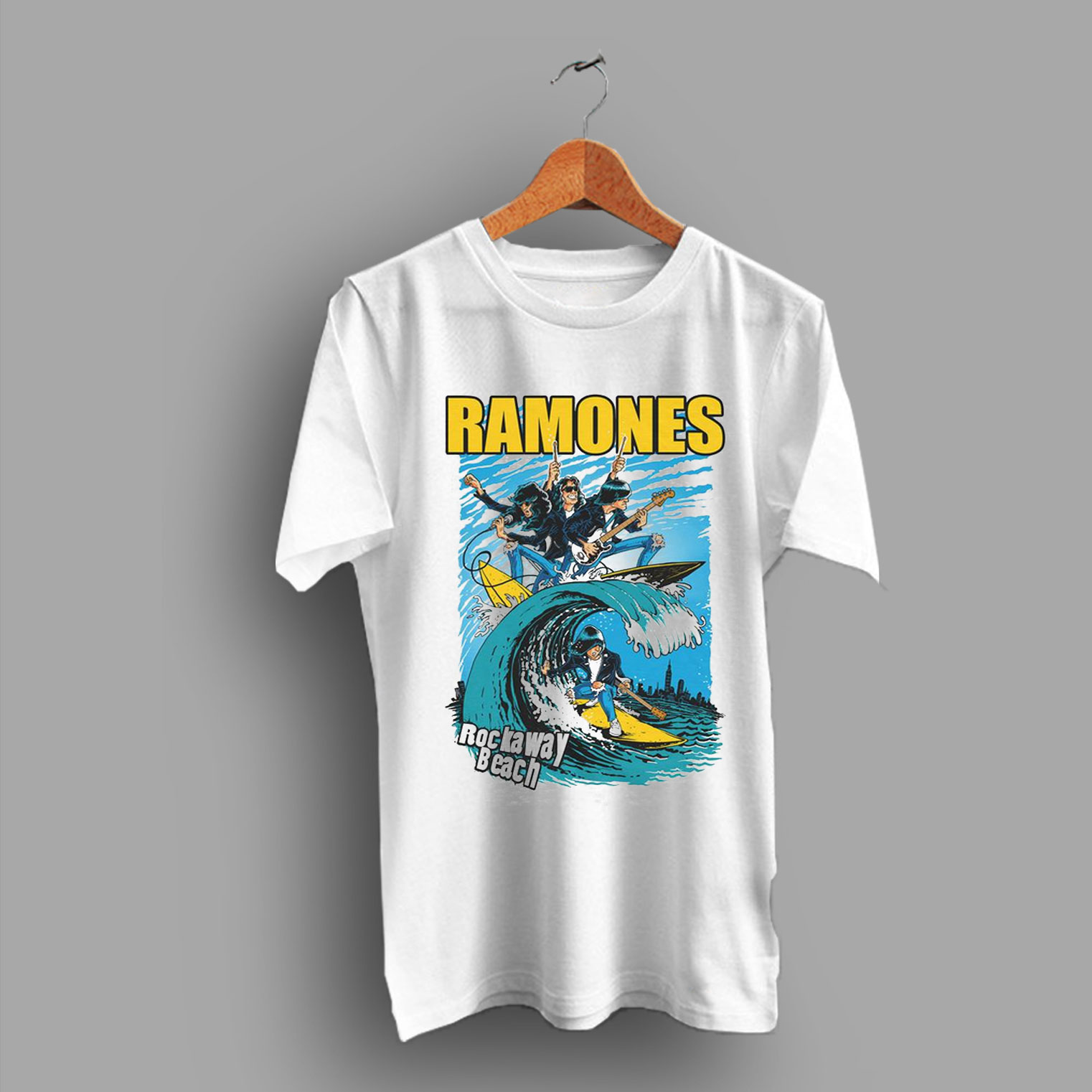 d73c00e5 Rockaway Beach Ramones Punk T Shirt | Bands Tee By HotVero