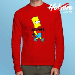 Savage Bart Simpson Long Sleeve T Shirt