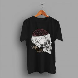 Sayings Graphic Simple Think Brain Skull T Shirt