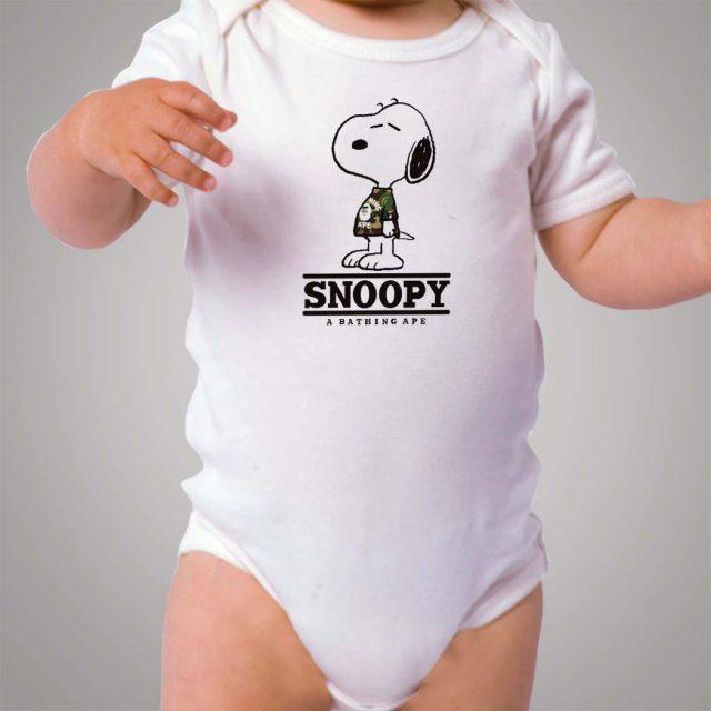 Snoopy Bape Camo Baby Onesie Bodysuit