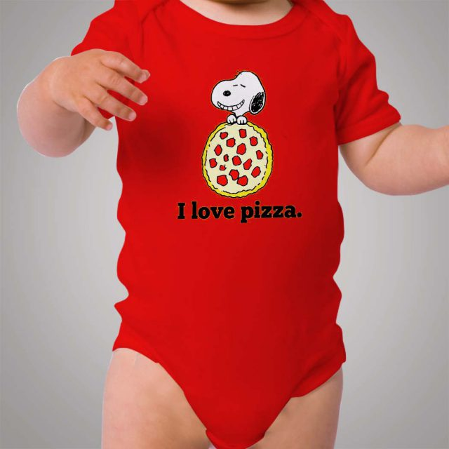 Snoopy I Love Pizza Baby Onesie Bodysuit