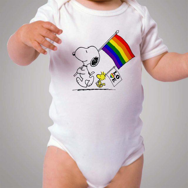 Snoopy Rainbow Flag Baby Onesie Bodysuit