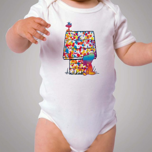 Snoopy and Woodstock Paint Color Baby Onesie