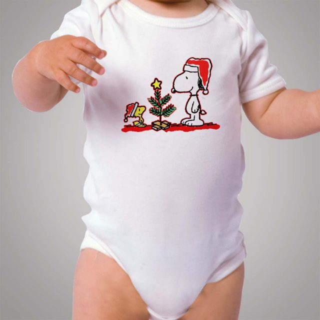 Snoopy and Woodstock Santa Baby Onesie Bodysuit