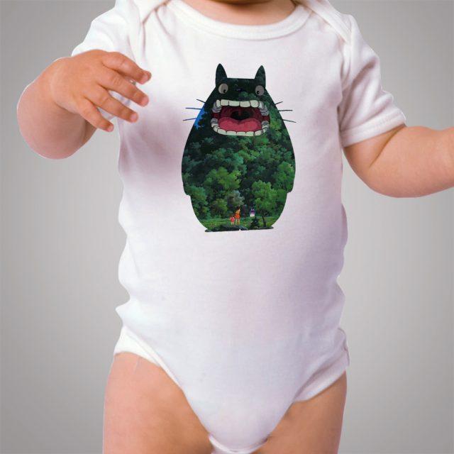 Totoro Landscape Sillhoutte Baby Onesie