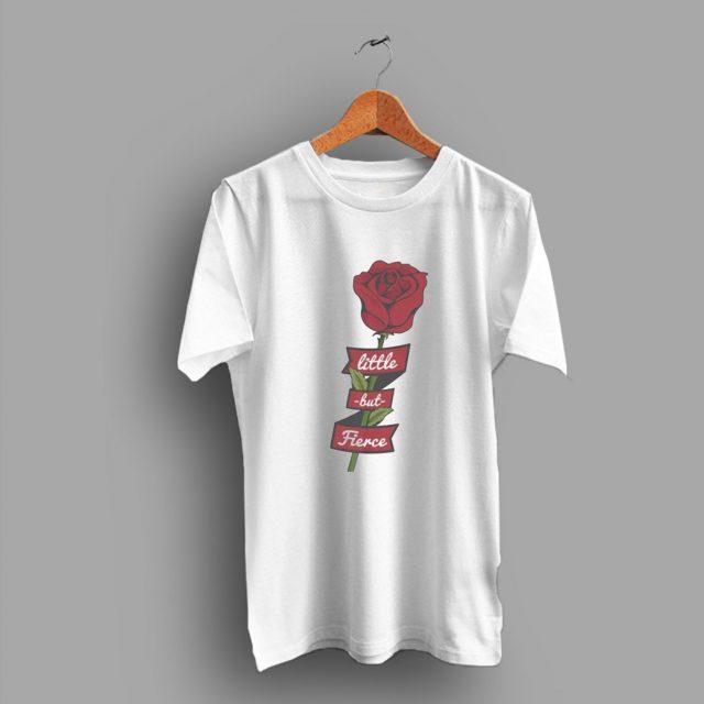 Vintage Feminist Hipster Little But Fierce Rose 80s T Shirt