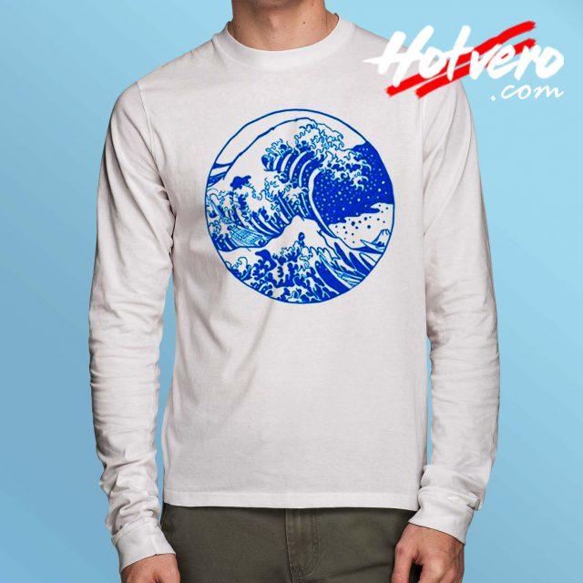 Vintage Great Wave Off Kanagawa Long Sleeve Shirt