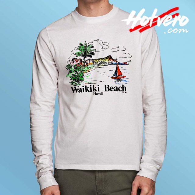Vintage Hawaiian Wakiki Beach Long Sleeve T Shirt