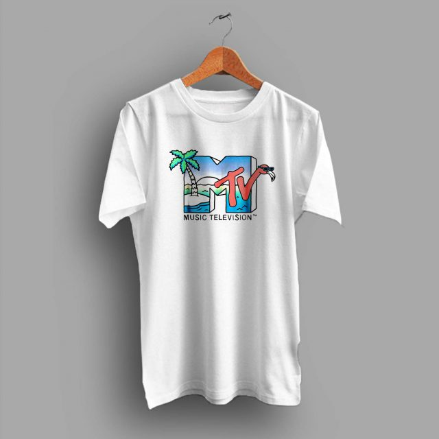 Vintage MTV Beach Island Flamingo Summer T Shirt