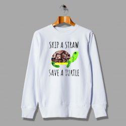 Vintage Skip A Straw Save A Turtle Sweatshirt