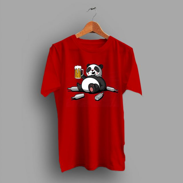 Animal Lover Panda Beer Drinking Gifts T Shirt