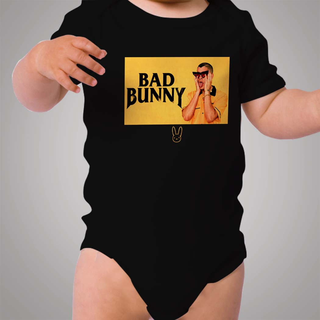 8008eaa357 Bad Bunny Black And Yellow Baby Onesie - Hotvero