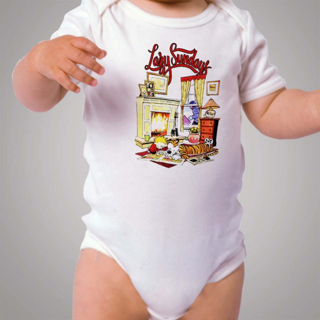 Calvin Hobbes Lazy Sundays Activity Baby Onesie