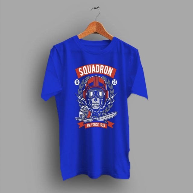 Casual Youth Cool Air Force Squadron Skull Graphic T Shirt