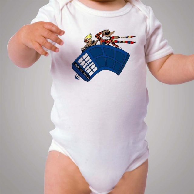 Funny Calvin and Hobbes Police Box Baby Onesie