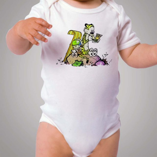 Funny Calvin and Hobbes Read Book Baby Onesie