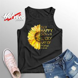 Im A Happy Go Lucky Sunflower Summer Tank Top