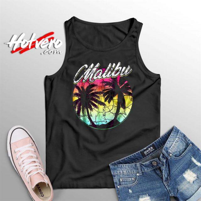 Malibu Beach Vintage Palm Surfing Summer Tank Top