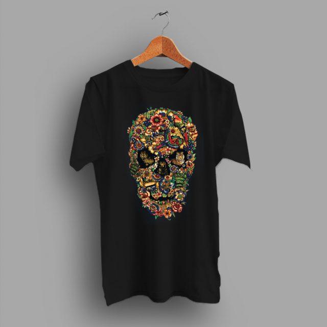 Tees Sugar Skull Floral Fauna Skull T Shirt