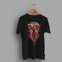 Both Combined Captain Marvel Flying V Black T Shirt