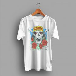 Soft And Aged Heavy Metal Headbanger Skull and Roses Vintage 70s T Shirt