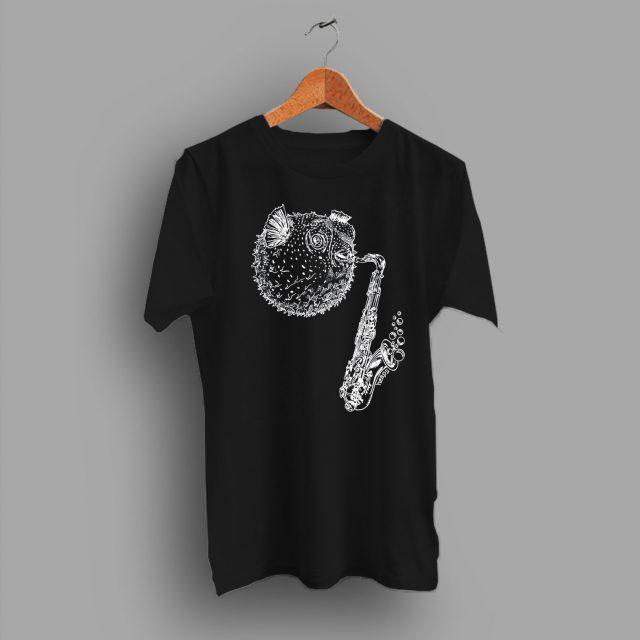 Blow Fish Saxophone Charcoal Classic T Shirt 1