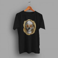 Slightly Lower Golden Rose Skull T Shirt