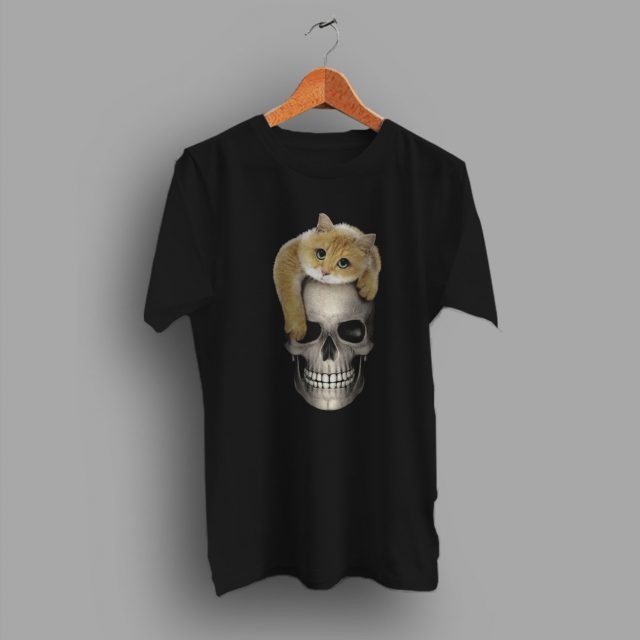 Sure To Be A Favourite Skull With Cat Cute T Shirt