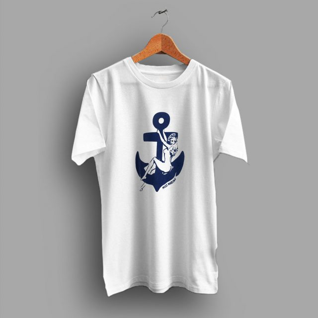 Japan Sexy Women Miss Marine Blue Blue Sailor Navy 80s T Shirt