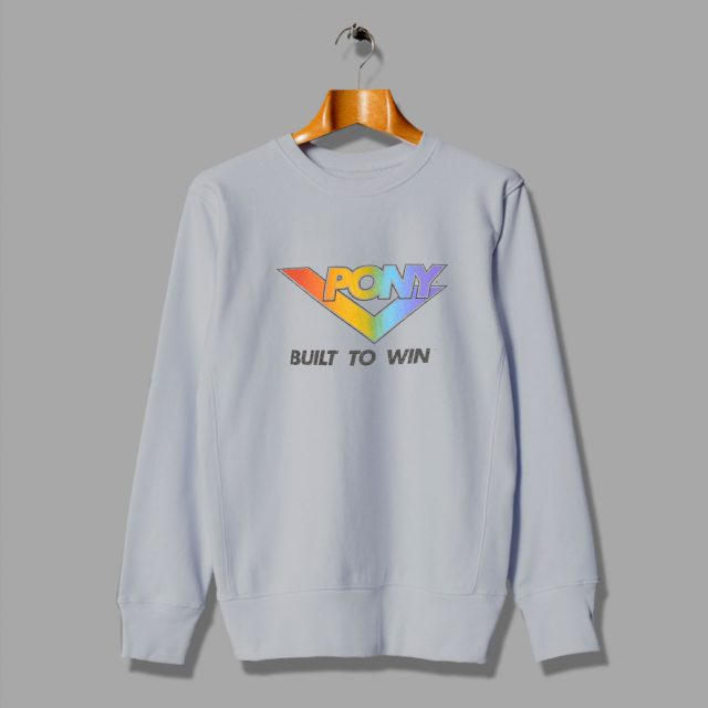 The Front Blocky Rainbow Font Pony 80s Sweatshirt
