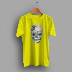 The Great Yellow Wave Off Japanese Style Skull T Shirt