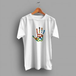 Hand Love Rainbow Print Funny T Shirt