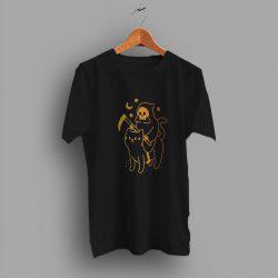 Death Rides A Black Cat Pumpkin Halloween T Shirt