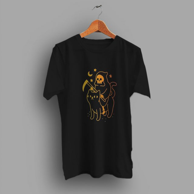 Death Rides A Black Cat Pumpkin Halloween T Shirt