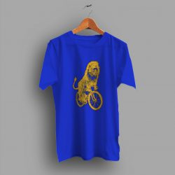 Hand Drawn Design Lion On A Bicycle Funny T Shirt
