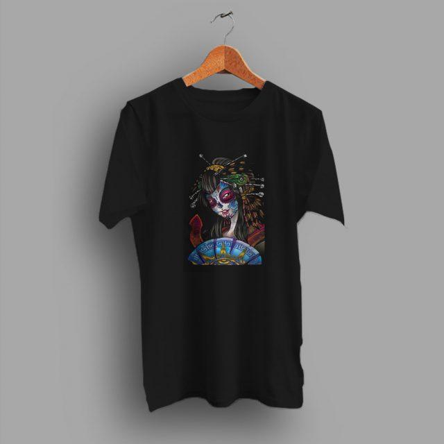 Oriental Geisha Gothica Sugar Skull T Shirt