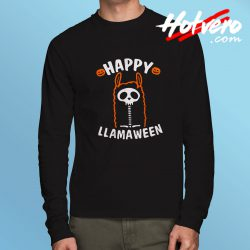 Cute Alpaca Happy Llamaween Long Sleeve T Shirt