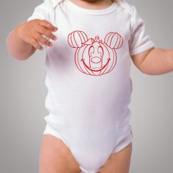 Funny Disney Mickey Mouse Pumpkin Halloween Baby Onesie