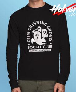 Grim Grinning Ghost Social Club Halloween Long Sleeve T Shirt