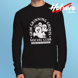 Grim Grinning Ghost Social Club Halloween Long Sleeve T Shirt